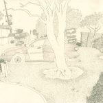 California Parking Lot, 2016  Pencil on paper 21 x 30 cm
