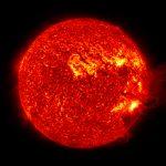 Die Sonne um Mitternacht schauen, SDO/NASA #2, (red), 2012, D/A - Process, Acrylic, Steel, 125 x 125 cm, Ed. 7