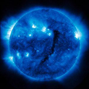Die Sonne um Mitternacht schauen, SDO/NASA #4, (blue), 2012, D/A - Process, Acrylic, Steel, 125 x 125 cm, Ed. 7