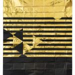 2050 III, 2020, 100 x 70 cm, Silkscreen on space blanket, Ed. 2 + 1 APProportion of expected loss of mammals and birds in Africa by 2050 (black in relation to gold).